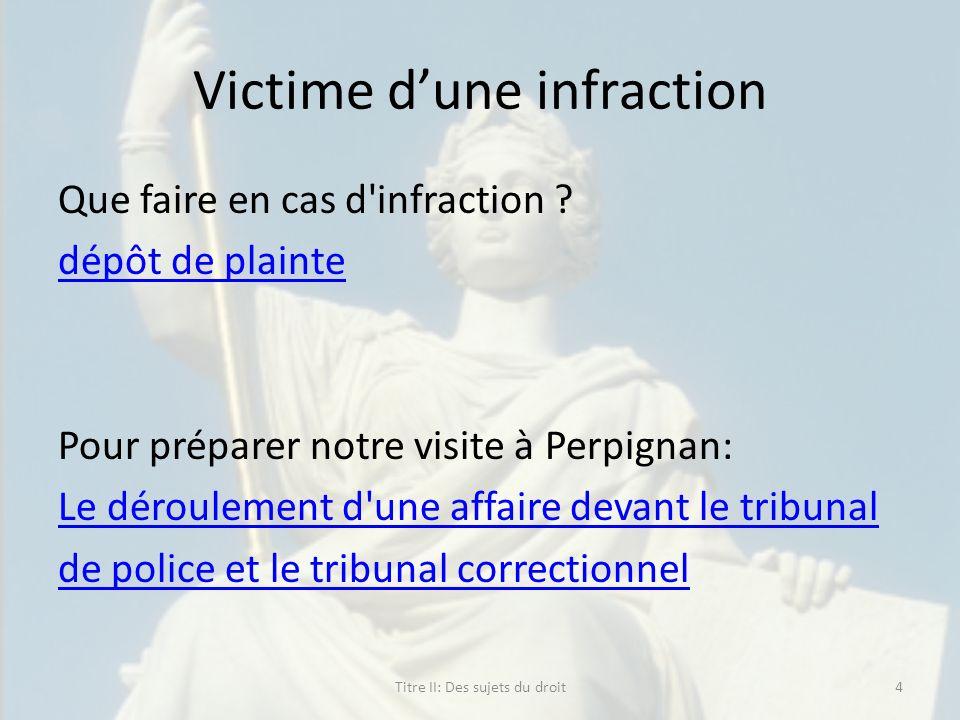 Victime dune infraction Que faire en cas d'infraction ? dépôt de plainte Pour préparer notre visite à Perpignan: Le déroulement d'une affaire devant l