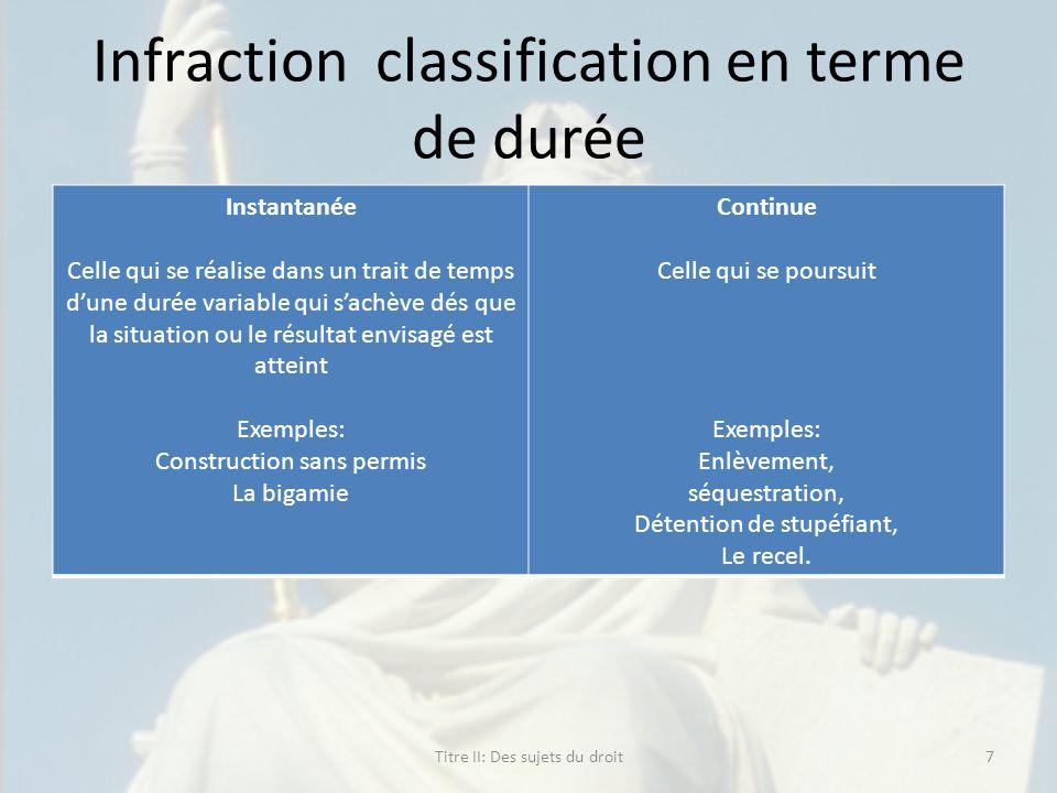 Infraction classification en terme de durée Instantanée Celle qui se réalise dans un trait de temps dune durée variable qui sachève dés que la situati