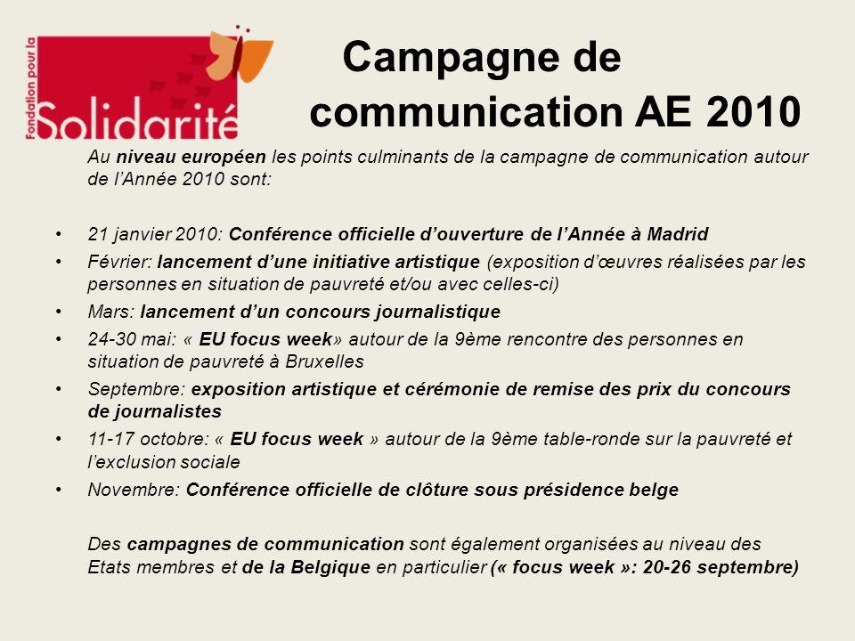 Campagne de communication AE 2010 Au niveau européen les points culminants de la campagne de communication autour de lAnnée 2010 sont: 21 janvier 2010