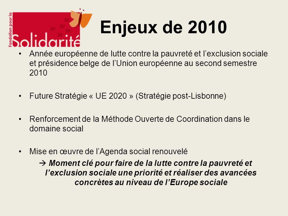 Enjeux de 2010 Année européenne de lutte contre la pauvreté et lexclusion sociale et présidence belge de lUnion européenne au second semestre 2010 Fut