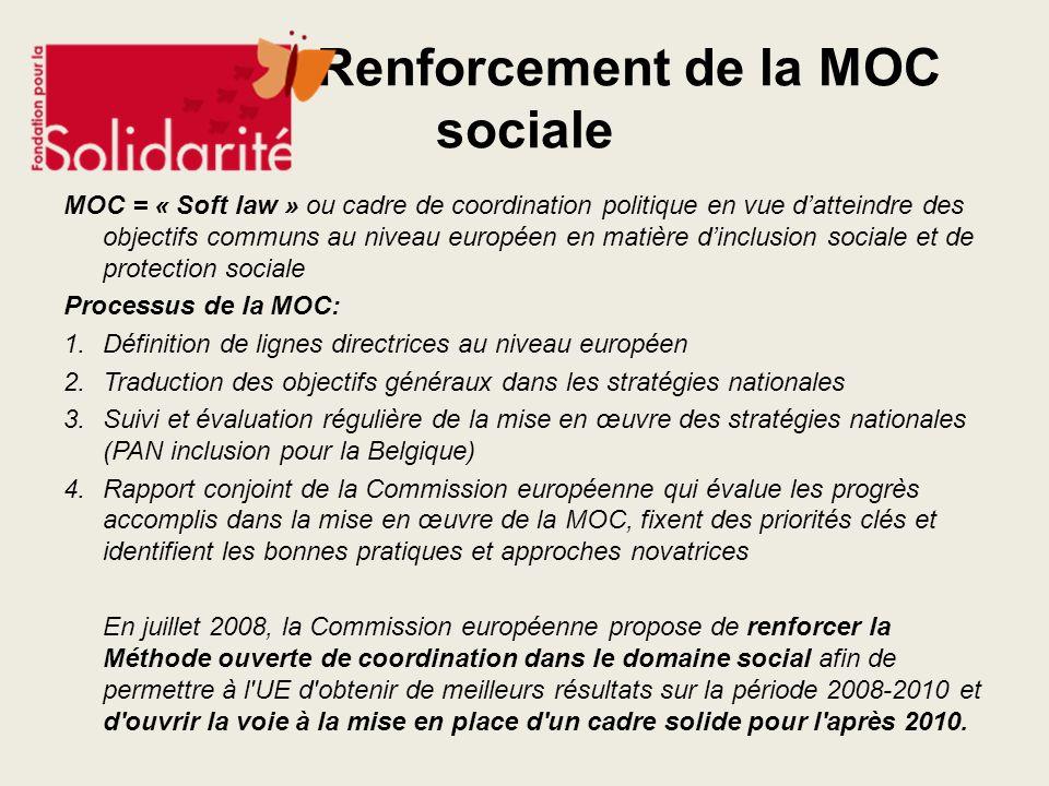 Renforcement de la MOC sociale MOC = « Soft law » ou cadre de coordination politique en vue datteindre des objectifs communs au niveau européen en mat