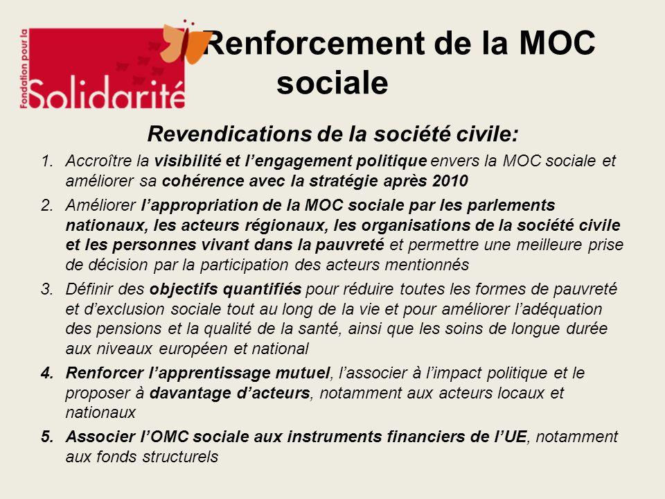 Renforcement de la MOC sociale Revendications de la société civile: 1.Accroître la visibilité et lengagement politique envers la MOC sociale et amélio