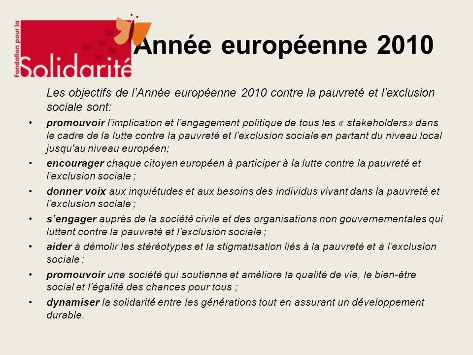 Année européenne 2010 Les objectifs de lAnnée européenne 2010 contre la pauvreté et lexclusion sociale sont: promouvoir limplication et lengagement po