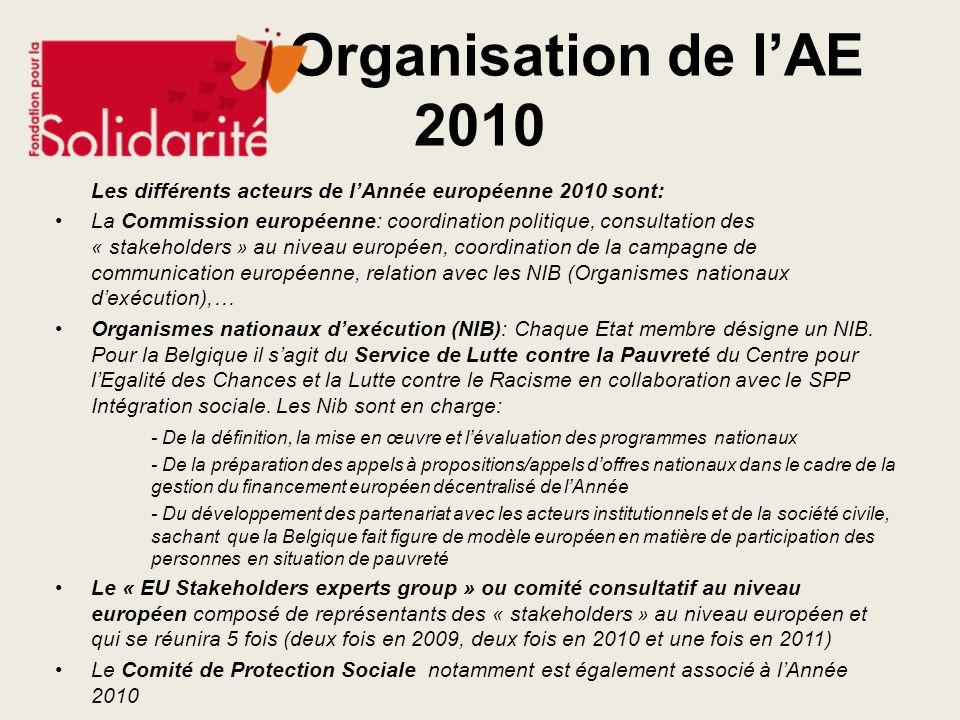 Organisation de lAE 2010 Les différents acteurs de lAnnée européenne 2010 sont: La Commission européenne: coordination politique, consultation des « s