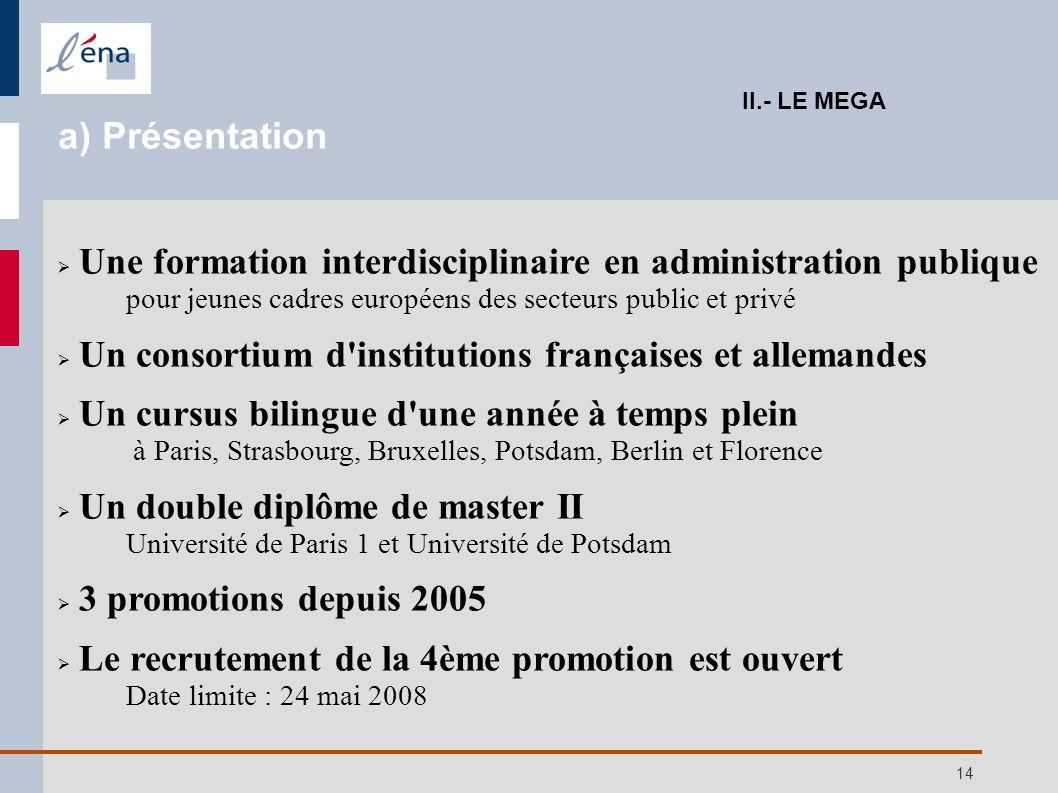 14 II.- LE MEGA a) Présentation Une formation interdisciplinaire en administration publique pour jeunes cadres européens des secteurs public et privé