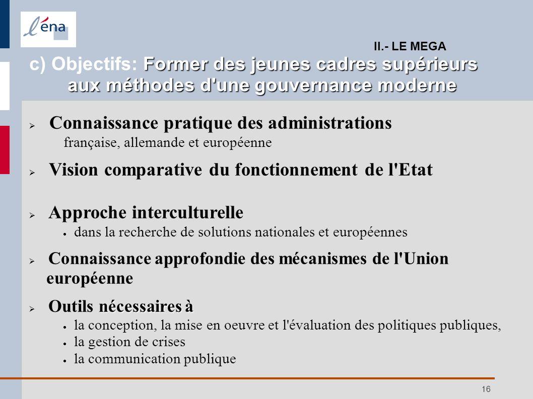16 Connaissance pratique des administrations française, allemande et européenne Vision comparative du fonctionnement de l'Etat Approche interculturell