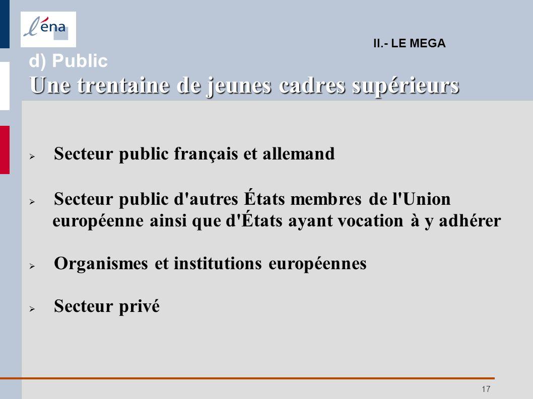 17 Secteur public français et allemand Secteur public d'autres États membres de l'Union européenne ainsi que d'États ayant vocation à y adhérer Organi
