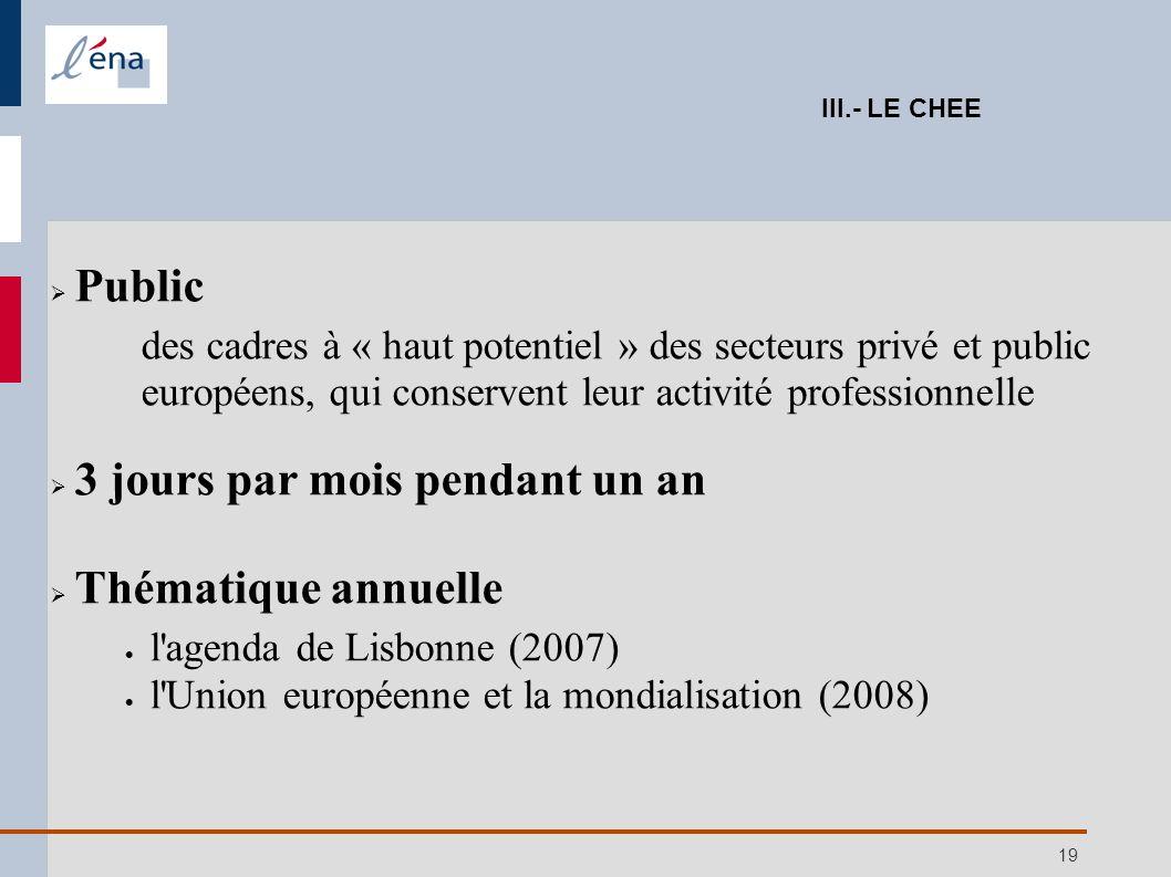 19 Public des cadres à « haut potentiel » des secteurs privé et public européens, qui conservent leur activité professionnelle 3 jours par mois pendan