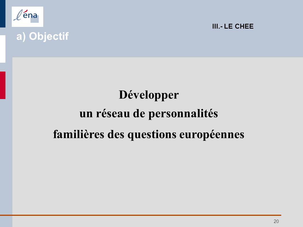 20 Développer un réseau de personnalités familières des questions européennes III.- LE CHEE a) Objectif