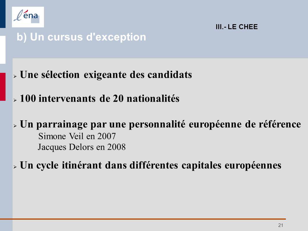21 Une sélection exigeante des candidats 100 intervenants de 20 nationalités Un parrainage par une personnalité européenne de référence Simone Veil en