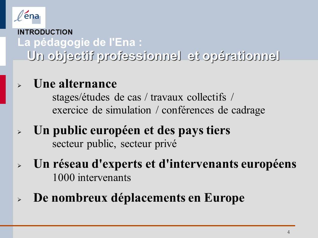 4 Une alternance stages/études de cas / travaux collectifs / exercice de simulation / conférences de cadrage Un public européen et des pays tiers sect