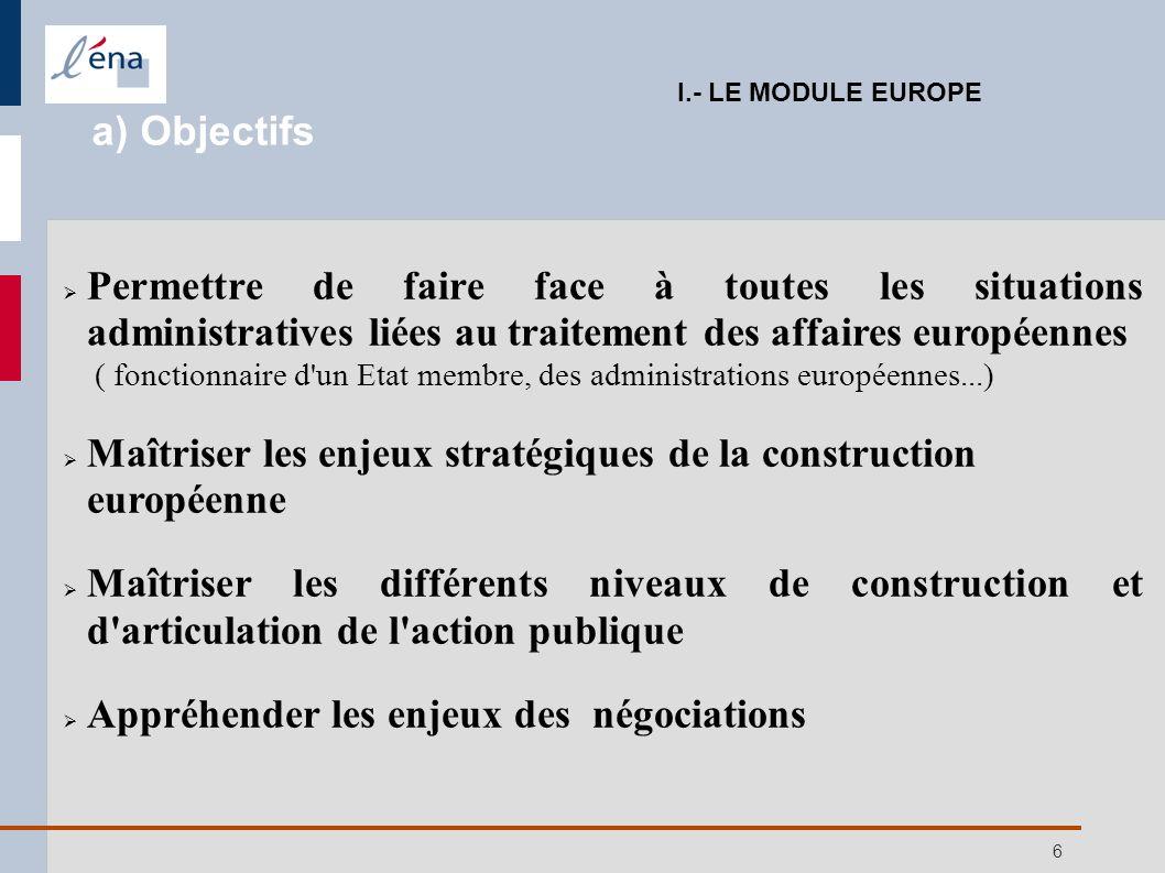 6 Permettre de faire face à toutes les situations administratives liées au traitement des affaires européennes ( fonctionnaire d'un Etat membre, des a