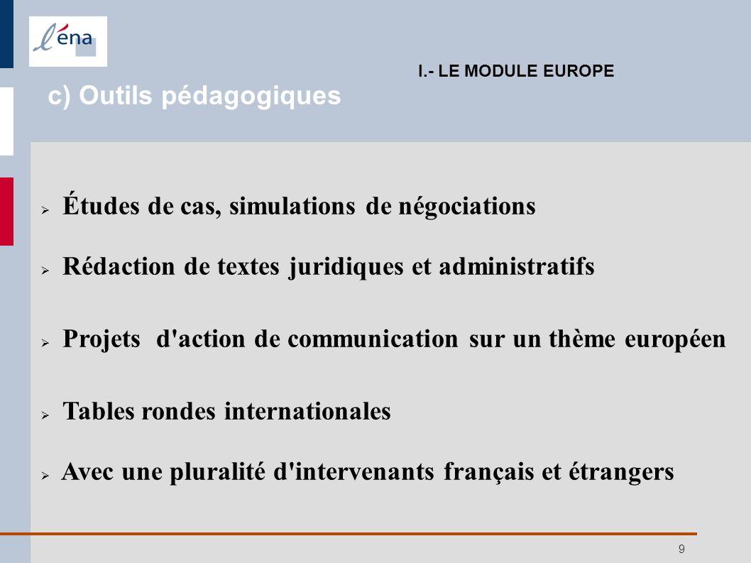 9 Études de cas, simulations de négociations Rédaction de textes juridiques et administratifs Projets d'action de communication sur un thème européen