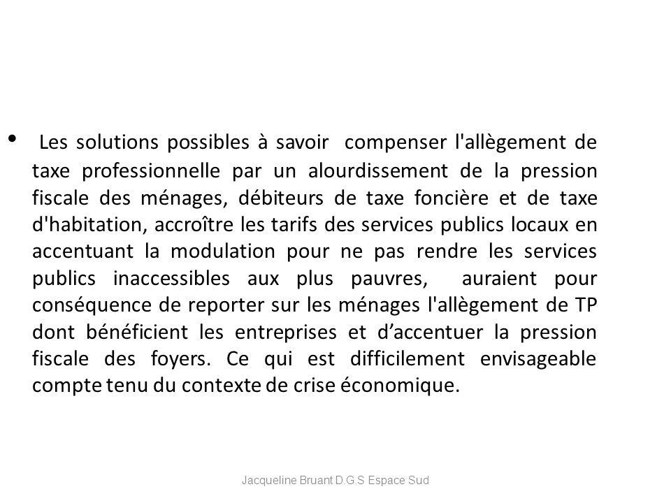 Jacqueline Bruant D.G.S Espace Sud Les solutions possibles à savoir compenser l'allègement de taxe professionnelle par un alourdissement de la pressio