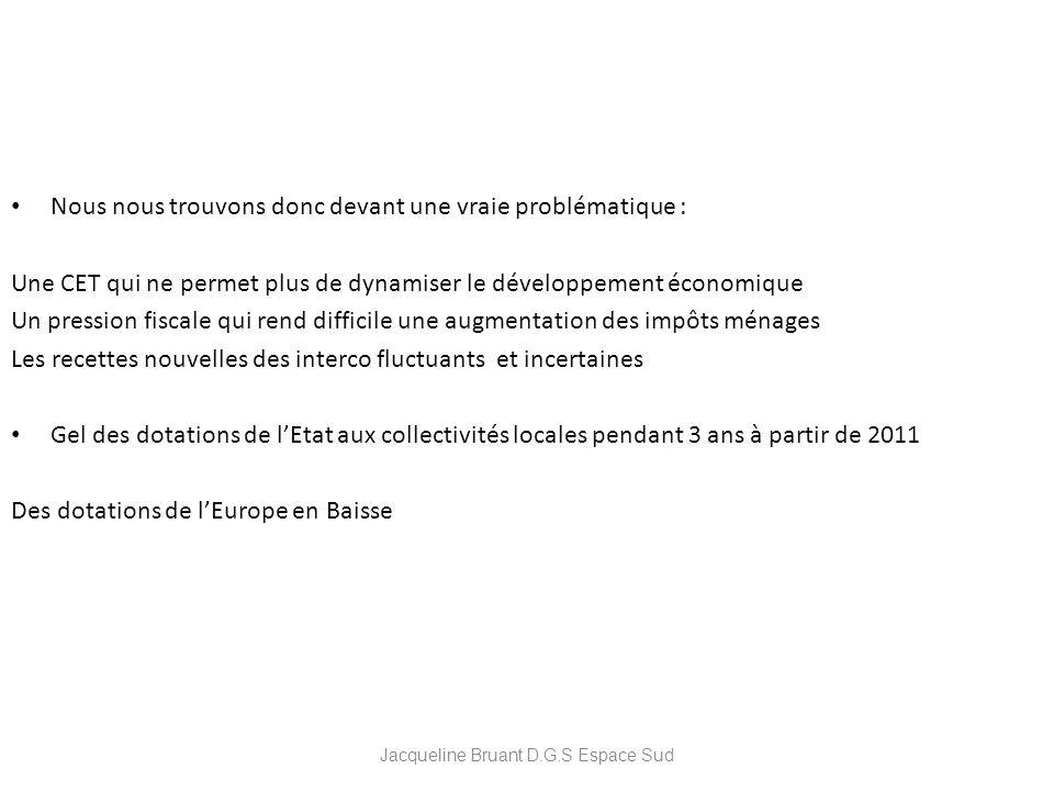 Jacqueline Bruant D.G.S Espace Sud Nous nous trouvons donc devant une vraie problématique : Une CET qui ne permet plus de dynamiser le développement é