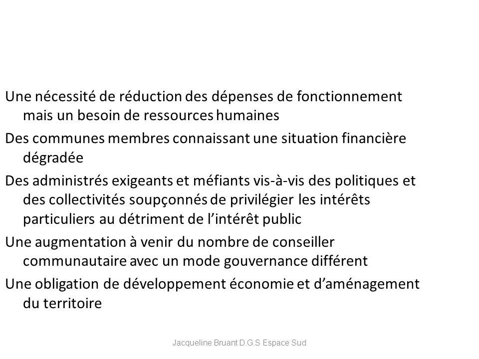 Une nécessité de réduction des dépenses de fonctionnement mais un besoin de ressources humaines Des communes membres connaissant une situation financi