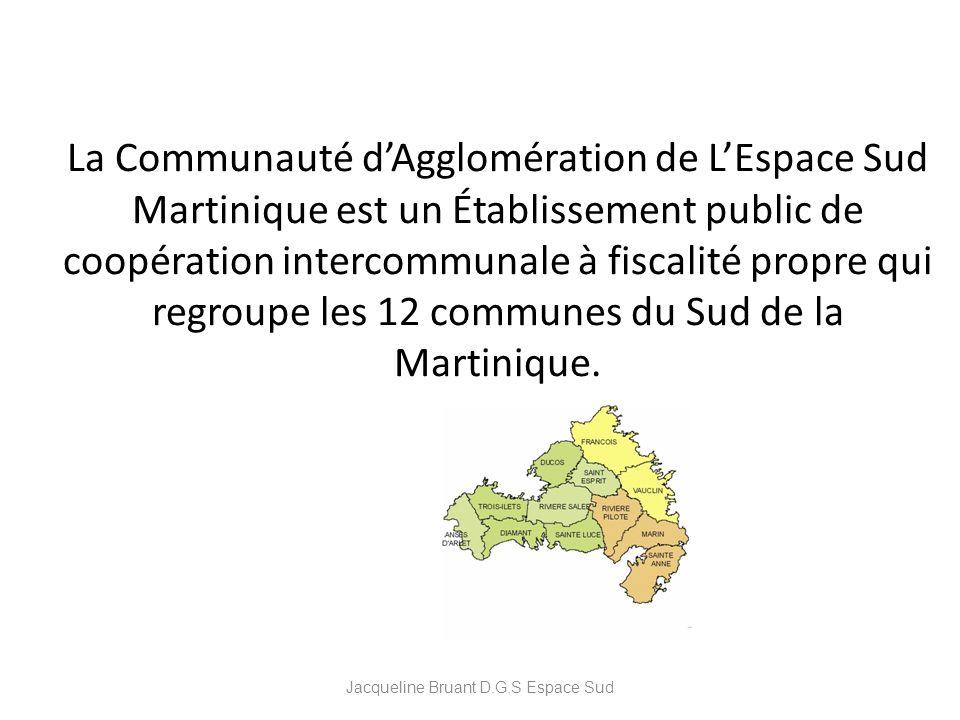 La Communauté dAgglomération de LEspace Sud Martinique est un Établissement public de coopération intercommunale à fiscalité propre qui regroupe les 1