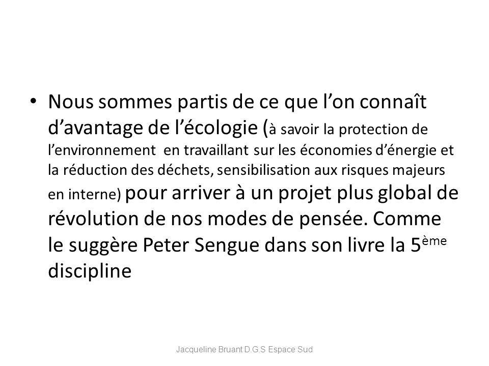 Nous sommes partis de ce que lon connaît davantage de lécologie ( à savoir la protection de lenvironnement en travaillant sur les économies dénergie e