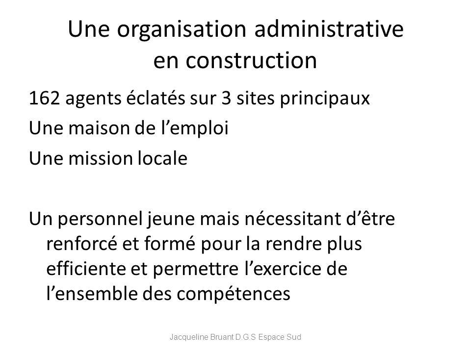 Une organisation administrative en construction 162 agents éclatés sur 3 sites principaux Une maison de lemploi Une mission locale Un personnel jeune