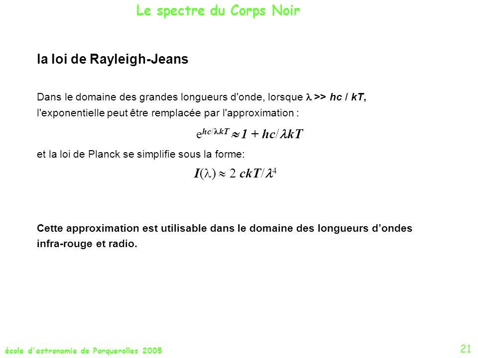 école d'astronomie de Porquerolles 2005 21 la loi de Rayleigh-Jeans Dans le domaine des grandes longueurs d'onde, lorsque >> hc / kT, l'exponentielle
