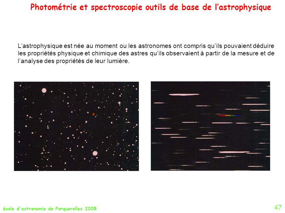 Photométrie et spectroscopie outils de base de lastrophysique école d'astronomie de Porquerolles 2005 47 Lastrophysique est née au moment ou les astro