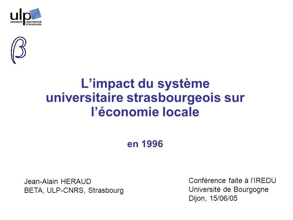 Limpact du système universitaire strasbourgeois sur léconomie locale en 1996 Jean-Alain HERAUD BETA, ULP-CNRS, Strasbourg Conférence faite à lIREDU Un