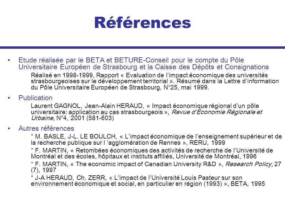 Références Etude réalisée par le BETA et BETURE-Conseil pour le compte du Pôle Universitaire Européen de Strasbourg et la Caisse des Dépôts et Consign