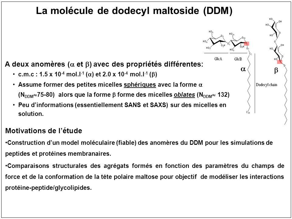 Bibliothèque de paramètres pour les glycolipides à base de glucose basée sur glycam06 gg rotamer (57 %) gt rotamer (38 %) tg rotamer (5 %) 1 – Optimization geométrique Step 1: GAUSSIAN 2003 Theory level 1: HF Options: Opt=Tight, Redundant Basis set 1: 6-31G** # Configs: 2 par sucre et 1 par lipide 3 – Fit des charges Step 3: RESP avec contrainte q=0e sur les atomes H (type HC sp 3 ) => compatibilité avec GLYCAM.