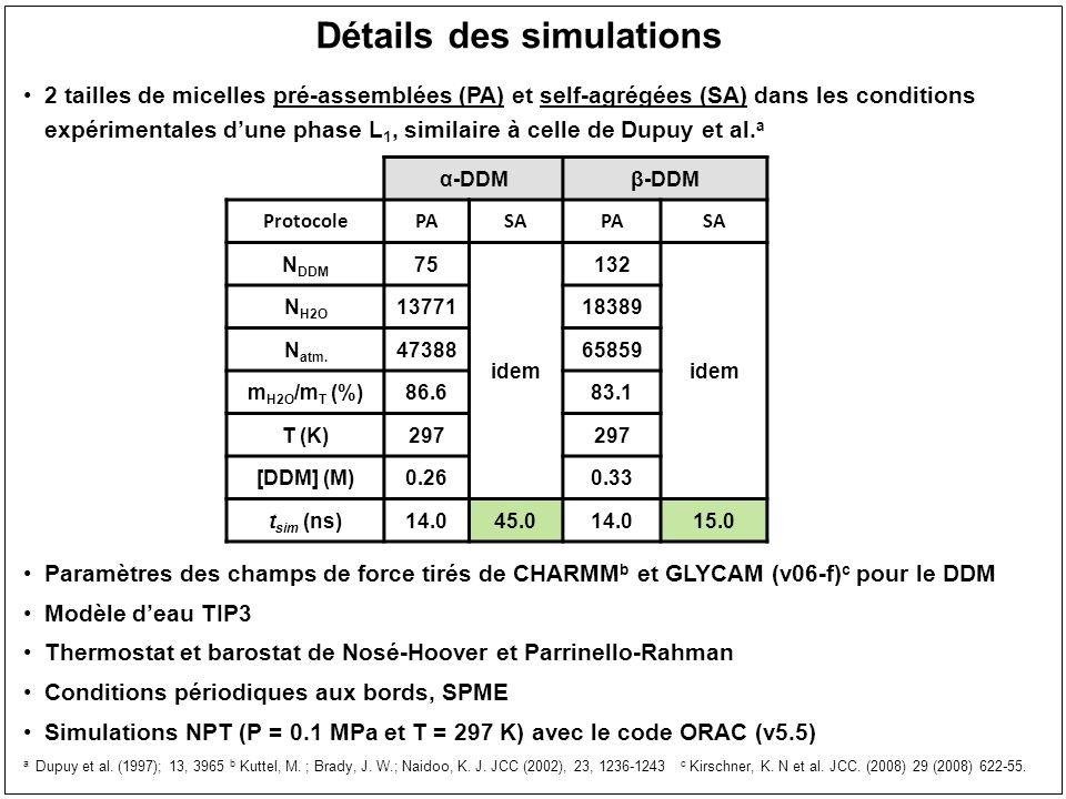 Lassemblages des monomères de DDM en micelles Mêmes conditions de simulations que les systèmes pré-assemblées Monomères de et β DDM modélisés avec GLYCAM = 20.1 Å = 1.8 = 25.2 Å = 1.7 double exponentielle
