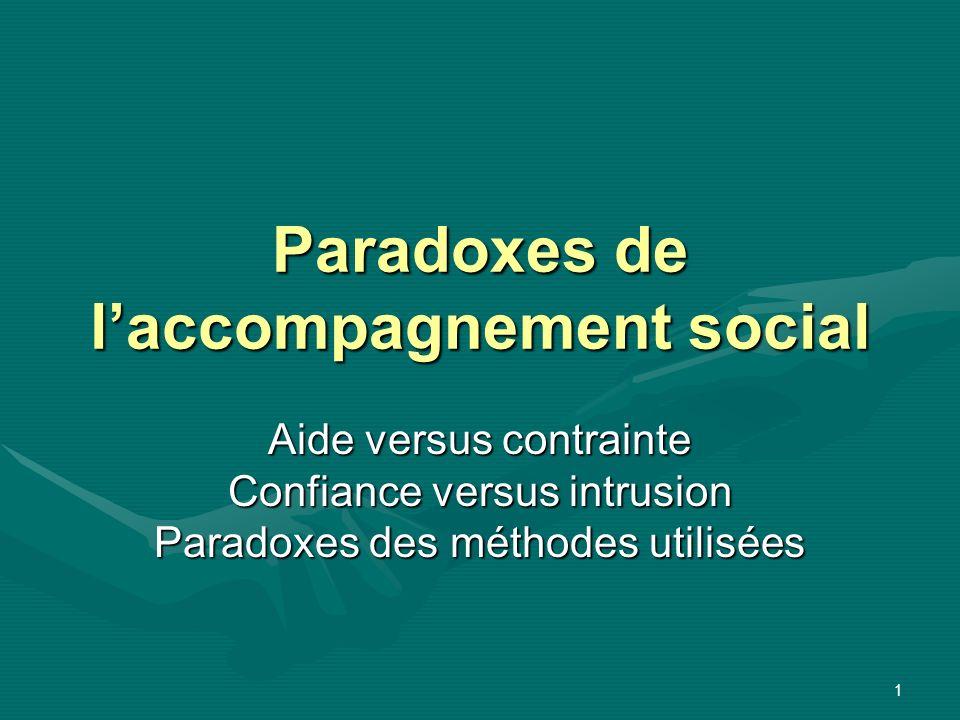1 Paradoxes de laccompagnement social Aide versus contrainte Confiance versus intrusion Paradoxes des méthodes utilisées
