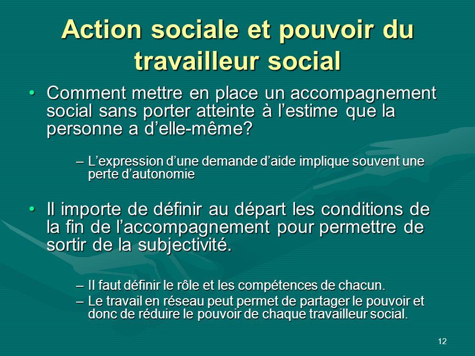 12 Action sociale et pouvoir du travailleur social Comment mettre en place un accompagnement social sans porter atteinte à lestime que la personne a d