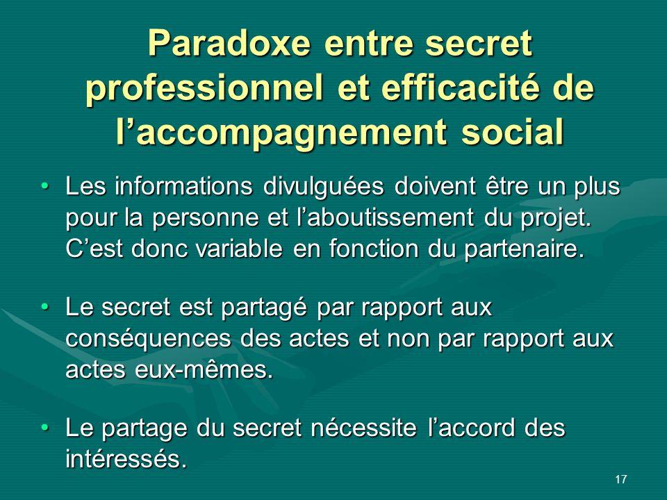 17 Paradoxe entre secret professionnel et efficacité de laccompagnement social Les informations divulguées doivent être un plus pour la personne et la