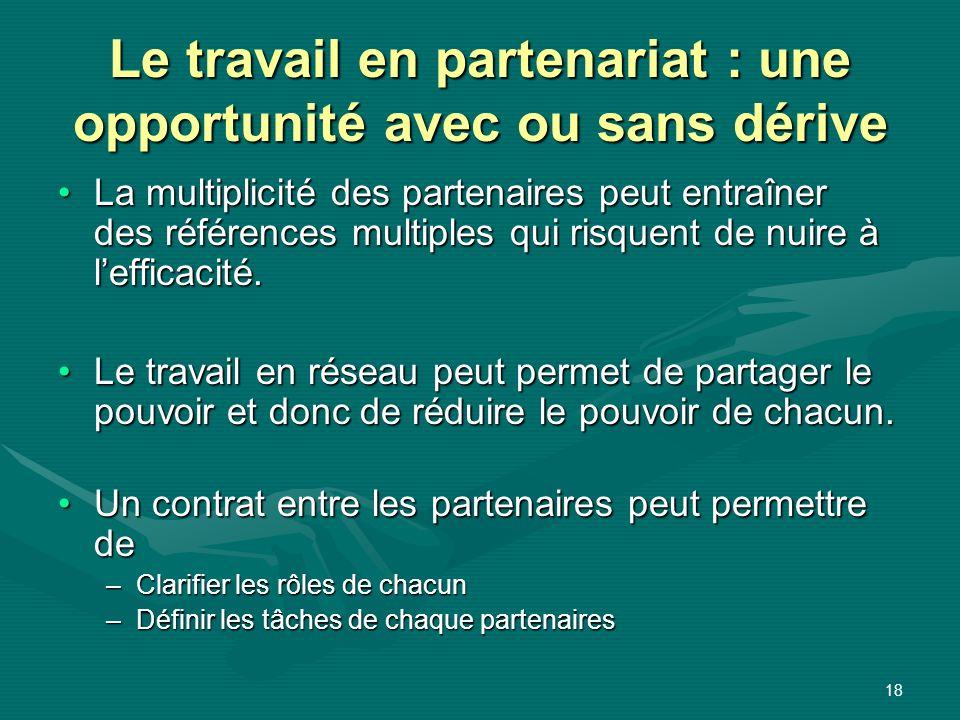 18 Le travail en partenariat : une opportunité avec ou sans dérive La multiplicité des partenaires peut entraîner des références multiples qui risquen