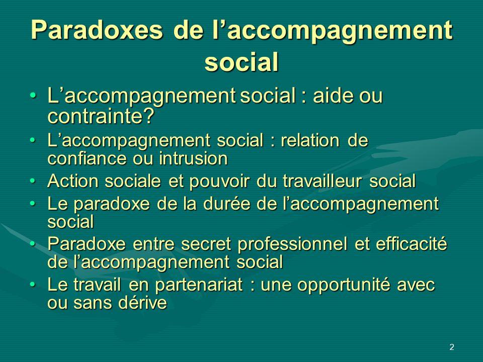 2 Paradoxes de laccompagnement social Laccompagnement social : aide ou contrainte?Laccompagnement social : aide ou contrainte? Laccompagnement social