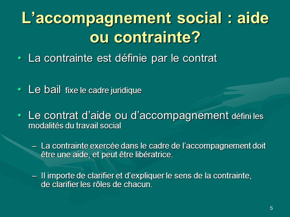 5 Laccompagnement social : aide ou contrainte? La contrainte est définie par le contratLa contrainte est définie par le contrat Le bail fixe le cadre