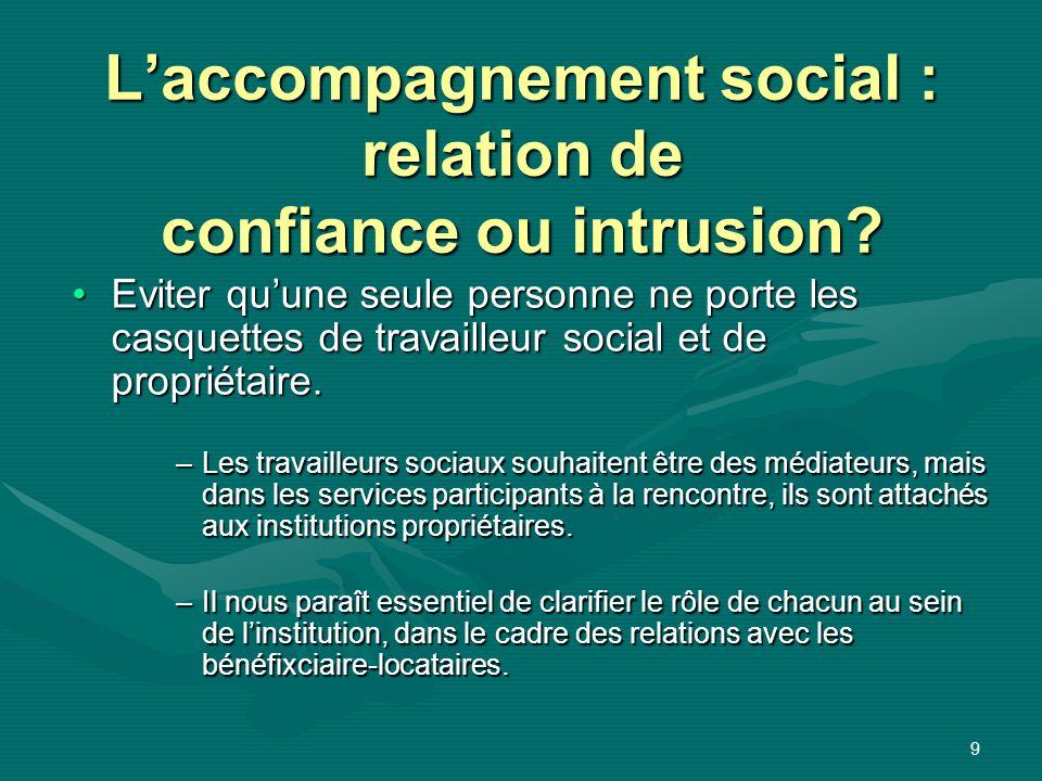 9 Laccompagnement social : relation de confiance ou intrusion? Eviter quune seule personne ne porte les casquettes de travailleur social et de proprié