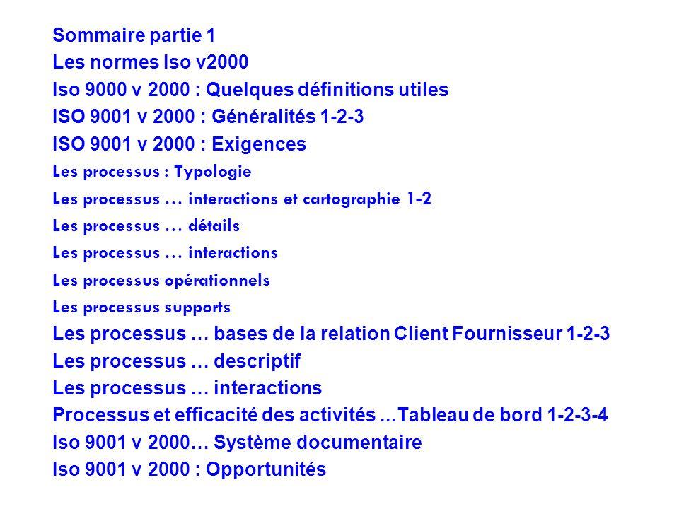 Sommaire partie 1 Les normes Iso v2000 Iso 9000 v 2000 : Quelques définitions utiles ISO 9001 v 2000 : Généralités 1-2-3 ISO 9001 v 2000 : Exigences L