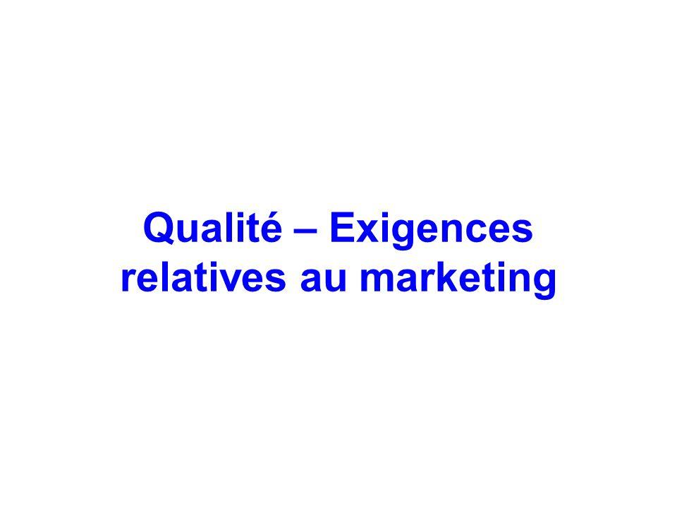Qualité – Exigences relatives au marketing