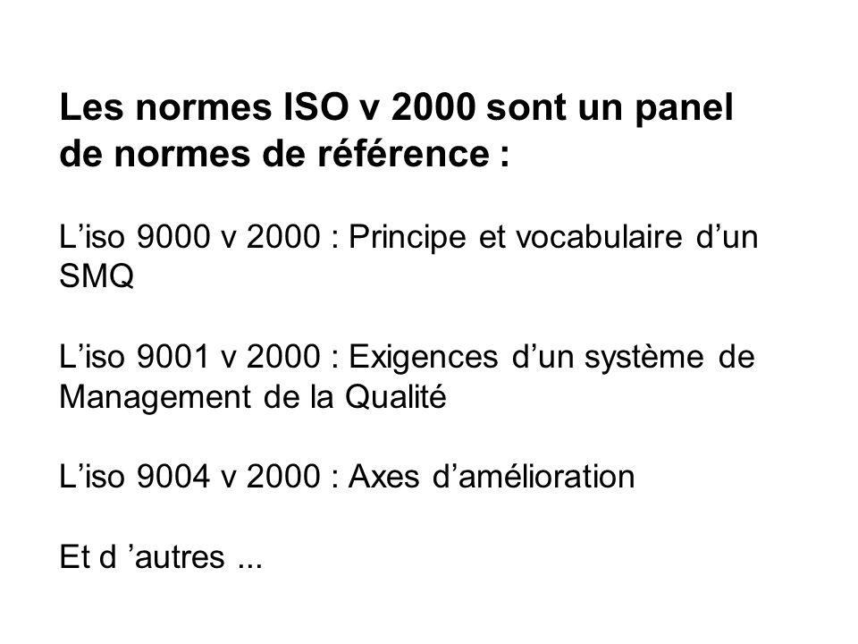 Les normes ISO v 2000 sont un panel de normes de référence : Liso 9000 v 2000 : Principe et vocabulaire dun SMQ Liso 9001 v 2000 : Exigences dun systè