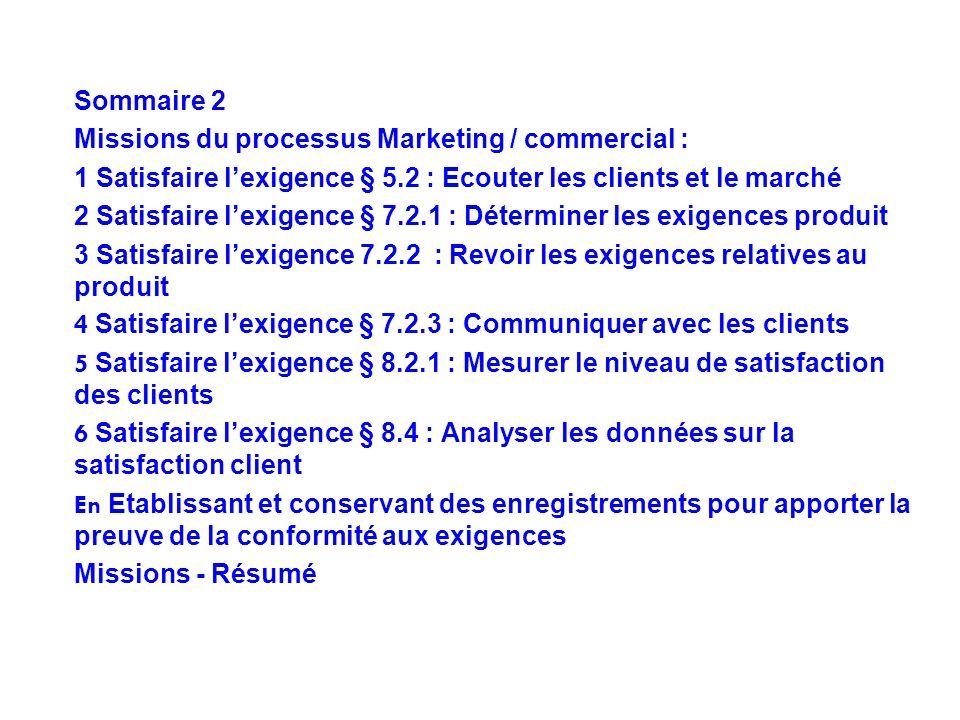 Sommaire 2 Missions du processus Marketing / commercial : 1 Satisfaire lexigence § 5.2 : Ecouter les clients et le marché 2 Satisfaire lexigence § 7.2