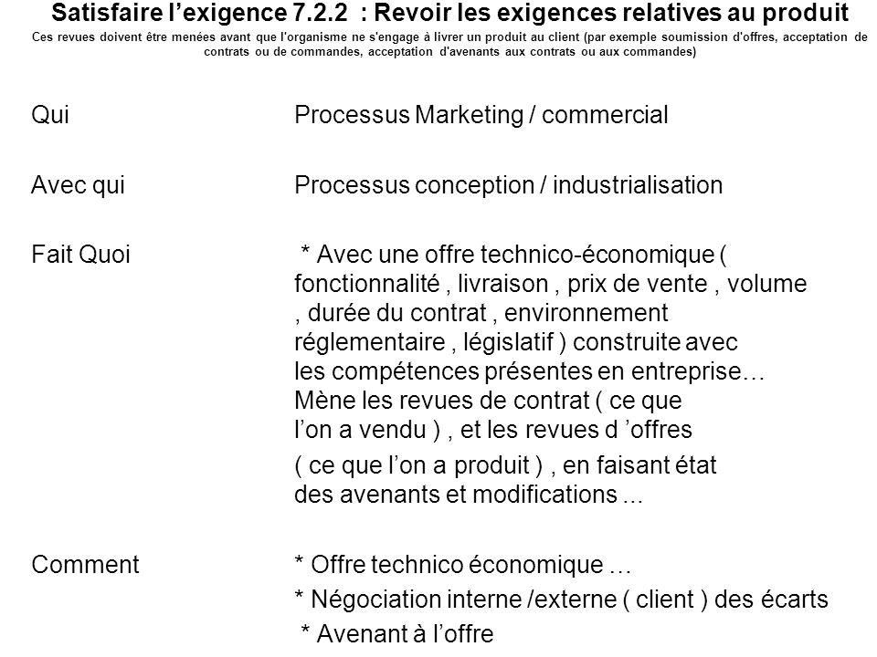Mission du processus Marketing / commercial 3 Satisfaire lexigence 7.2.2 : Revoir les exigences relatives au produit Ces revues doivent être menées av