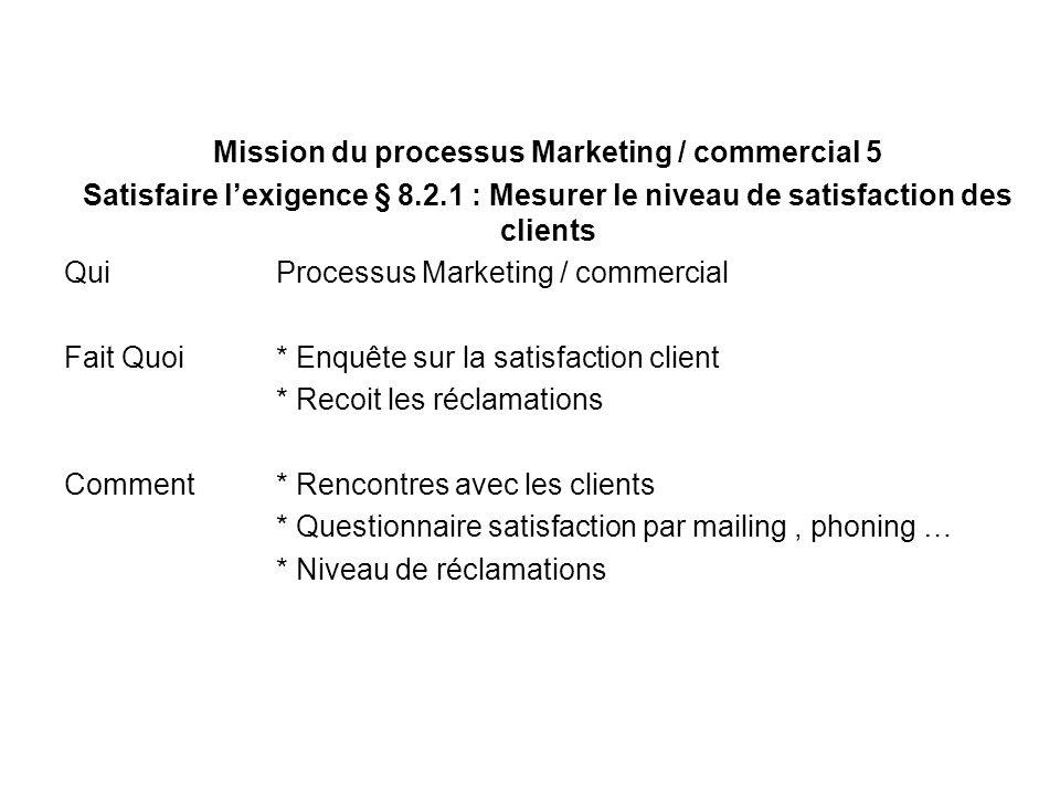 Mission du processus Marketing / commercial 5 Satisfaire lexigence § 8.2.1 : Mesurer le niveau de satisfaction des clients Qui Processus Marketing / c