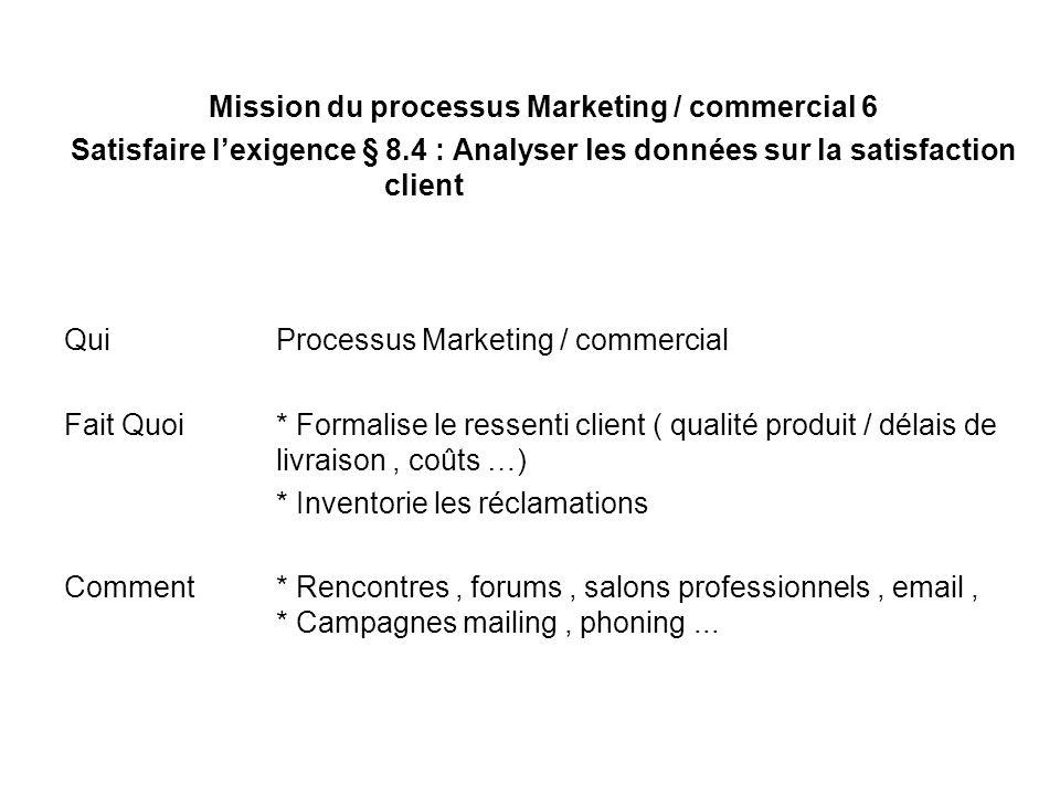 Mission du processus Marketing / commercial 6 Satisfaire lexigence § 8.4 : Analyser les données sur la satisfaction client Qui Processus Marketing / c