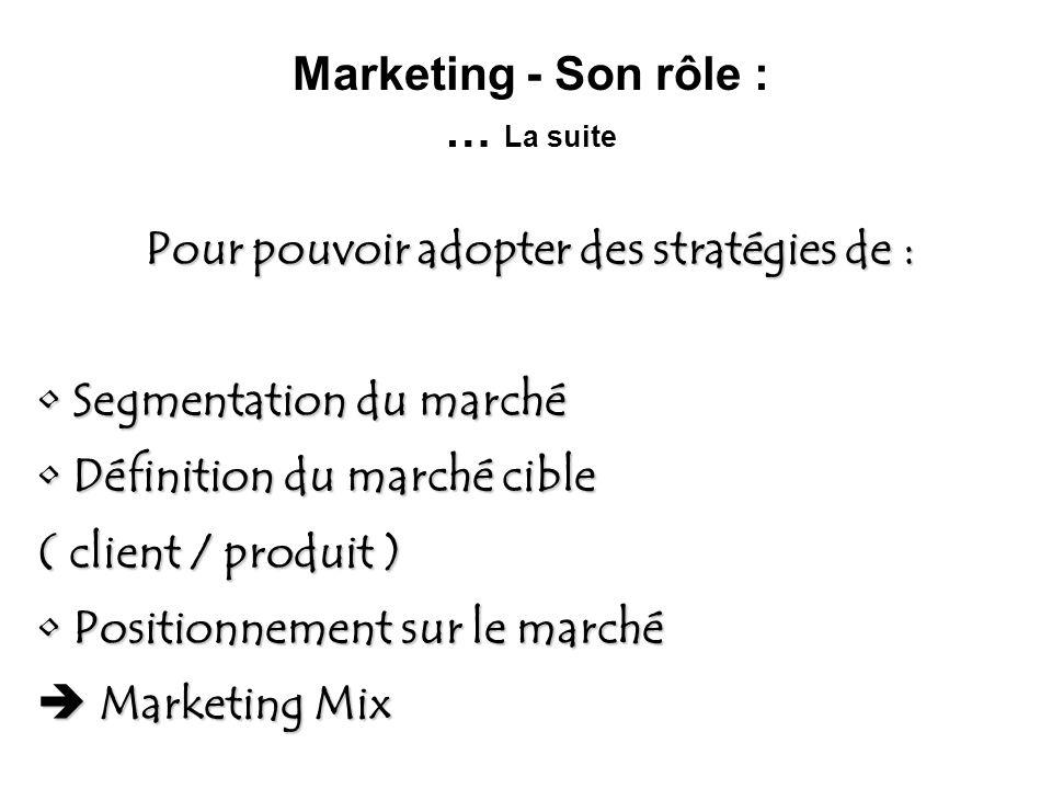 Marketing - Son rôle : … La suite Pour pouvoir adopter des stratégies de : Segmentation du marché Segmentation du marché Définition du marché cible Dé