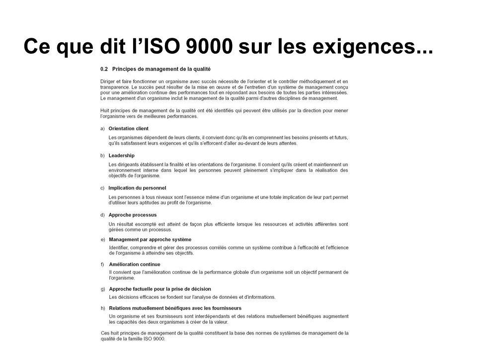 ISO 9001 v 2000 : Généralités 2 Les principales exigences : Accroître la satisfaction des Clients (interne ou externe) * développer lécoute Client * mesurer la satisfaction (et linsatisfaction) Client déterminer les processus et la surveillance associée focaliser sur lengagement de la Direction (encadrement) Communiquer les objectifs et résultats et impliquer le personnel mesurer lefficacité des processus, donc du SMQ* lAmélioration continue mettre en œuvre et déployer lAmélioration continue respecter les exigences réglementaires et légales (/produit) * Système de Management de la Qualité Page 7