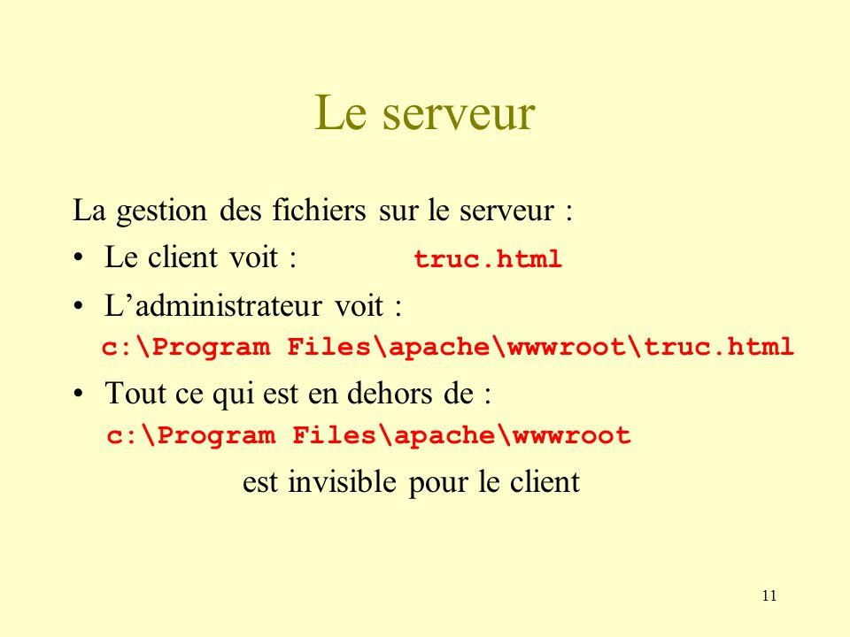 11 La gestion des fichiers sur le serveur : Le client voit : truc.html Ladministrateur voit : c:\Program Files\apache\wwwroot\truc.html Tout ce qui es