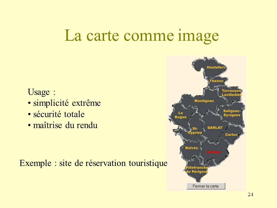 24 Usage : simplicité extrême sécurité totale maîtrise du rendu La carte comme image Exemple : site de réservation touristique