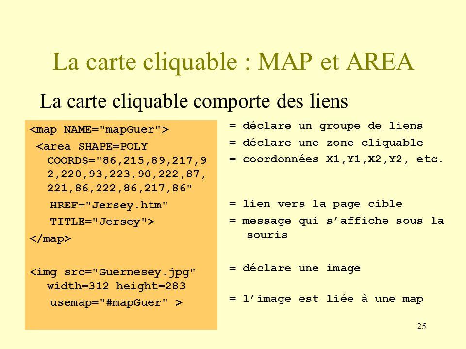 25 La carte cliquable : MAP et AREA La carte cliquable comporte des liens <area SHAPE=POLY COORDS=