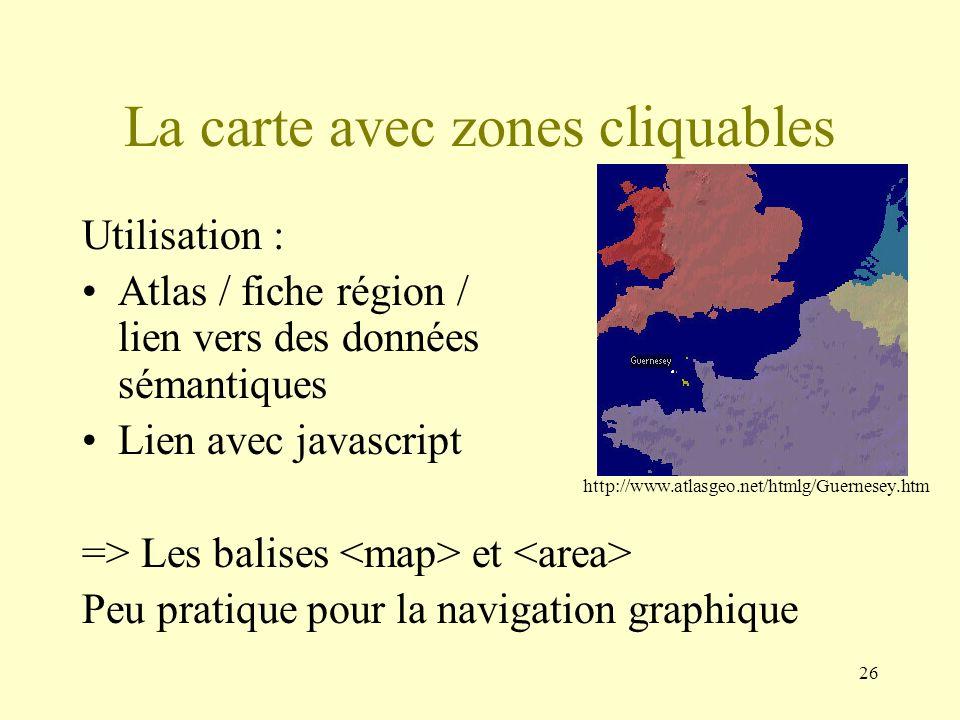 26 La carte avec zones cliquables Utilisation : Atlas / fiche région / lien vers des données sémantiques Lien avec javascript => Les balises et Peu pr