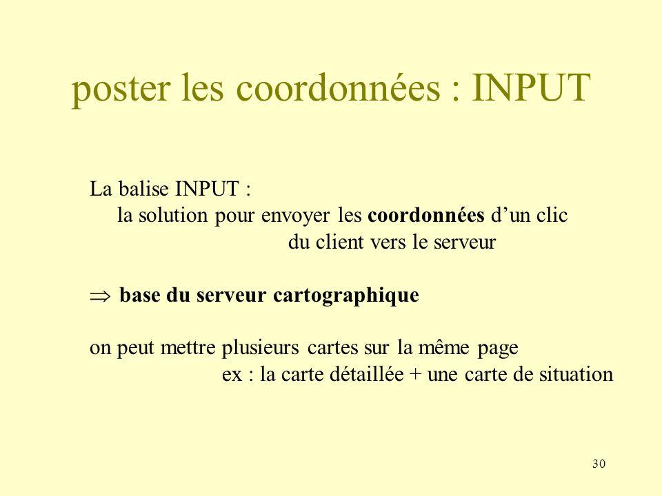 30 poster les coordonnées : INPUT La balise INPUT : la solution pour envoyer les coordonnées dun clic du client vers le serveur base du serveur cartog